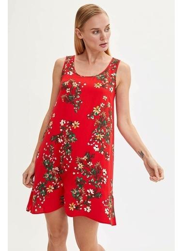 DeFacto Çiçekli Kolsuz Elbise Kırmızı